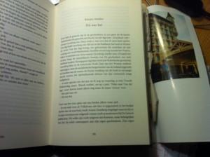 Nawoord in 'Ik ging van hand tot hand', met op de binnenflap een foto van Arnon Grunberg in Gstaad