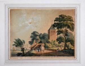Oude prent van de kerk in het Betuwse Varik. Een geschenk van Hanna Mulder.