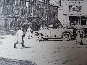 Duitse militairen op het marktplein van het bezette Vouziers, WO I