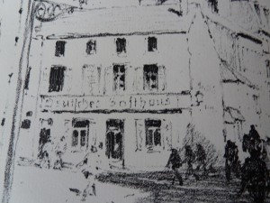 Tijdens de Duitse bezetting van de Ardennen werd het hotel in Vouziers omgedoopt in Deutsches Gasthaus. Litho Richard Birnstengel