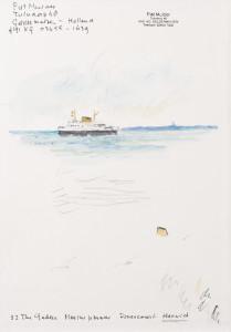 Schutblad schetsboek, aquarel op board, z.j.