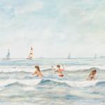 Zwemmers in Zandvoort, z.j., aquarel
