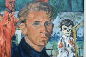 Piet Mulder: Zelfportret als poppenspeler, 1955