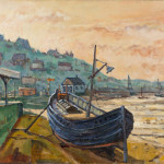 Piet Mulder, Blue boat at Dovercourt Bay Side. Oil on canvas.