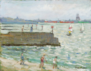Piet Mulder, Dovercourt Beach, oil on board, 1985