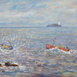 Piet Mulder, Godrevy Lighthouse near St. Ives, oil on wood, 1996