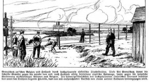 Tijdens de Eerste Wereldoorlog liep er langs de Nederlands Belgische grens bij Zelzate een hoogspanningslijn, om het vluchten te belemmeren. Duitse illustratie uit die tijd.
