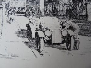 Duitse militairen bij open auto