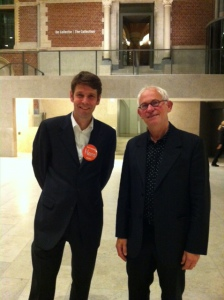 Rijksmuseumconservator Hans Rooseboom en Reinjan Mulder bij de opening van Modern Times