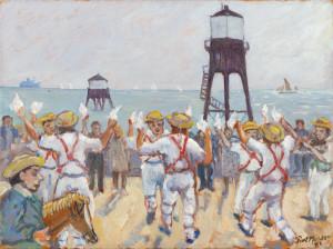 Morris Men in Dovercourt, oil on canvas, 1993