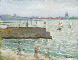 Piet Mulder, Dovercourt Beach, oil on board, 1985