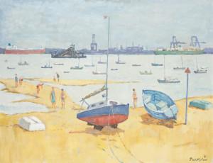 Piet Mulder, Harwich Beach, oil on canvas, 1983