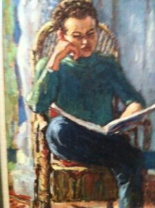Piet Mulder, Reinjan leest, olieverf op linnen, 1973 (Schriftstellergealerie, Literaturmuseum, Den Haag)