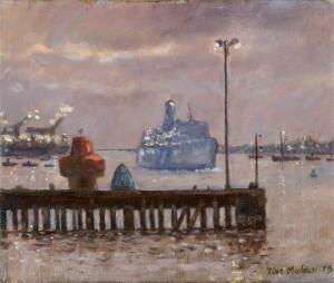 Piet Mulder, Nachtboot vanaf Trinity Pier, olieverf, ca. 1997