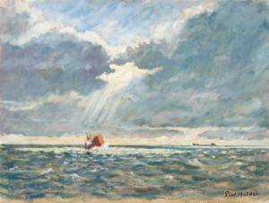 Piet Mulder, Vissersboot op zee, olieverf, z.j.