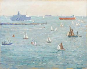 View from Piet Mulder's Dovercourt studio on sundays, oil on canvas, 1989