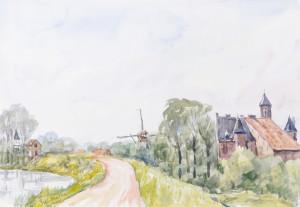 Piet Mulder, Waaldijk bij Kasteel Waardenburg, aquarel, 1995.